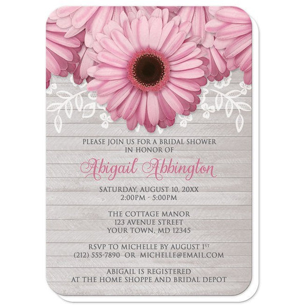 Bridal Shower Invitations - Rustic Pink Daisy Gray Wood - rounded corners