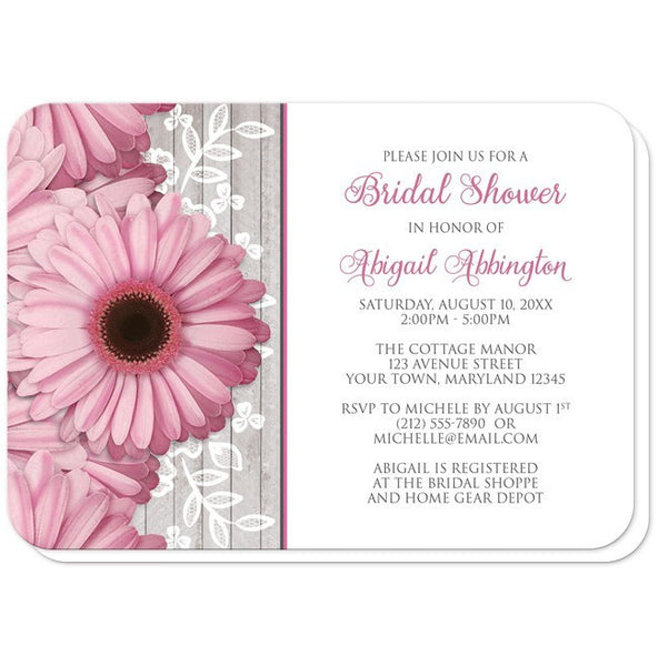 Bridal Shower Invitations - Rustic Pink Daisy Wood White - rounded corners