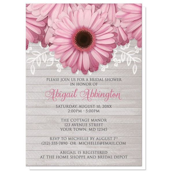 Rustic Daisy Wedding Invitations: Rustic Pink Daisy Gray Wood Bridal Shower Invitations