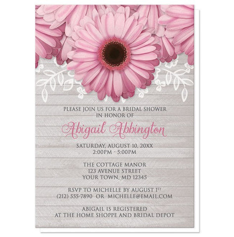 Bridal Shower Invitations - Rustic Pink Daisy Gray Wood