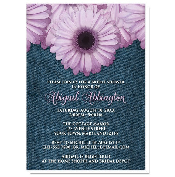 Rustic Daisy Wedding Invitations: Rustic Purple Daisy Denim Bridal Shower Invitations