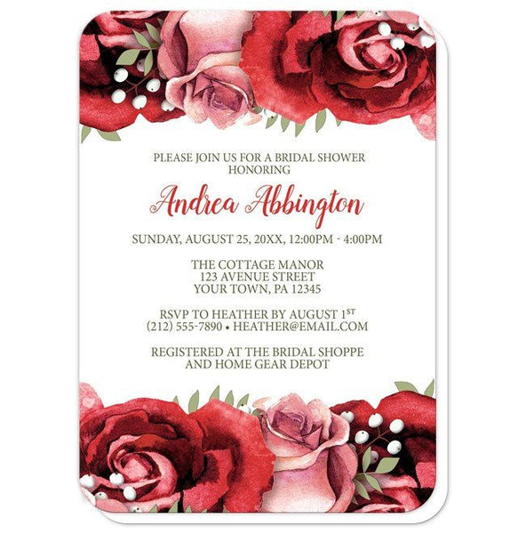Bridal Shower Invitations - Rustic Red Pink Rose White - rounded corners