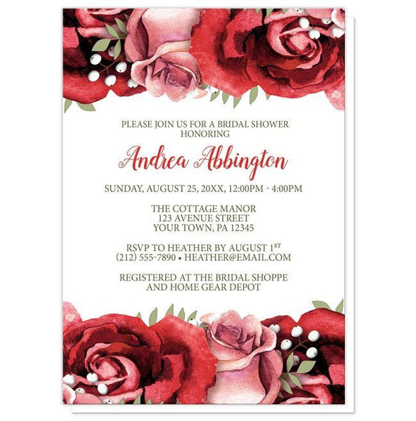 Bridal Shower Invitations - Rustic Red Pink Rose White