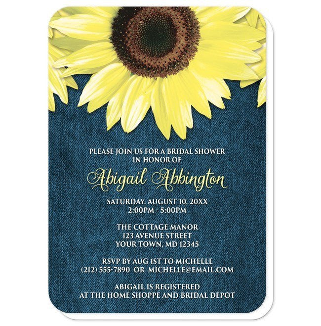 Rustic Sunflower Denim Bridal Shower Invitations at  Artistically Invited