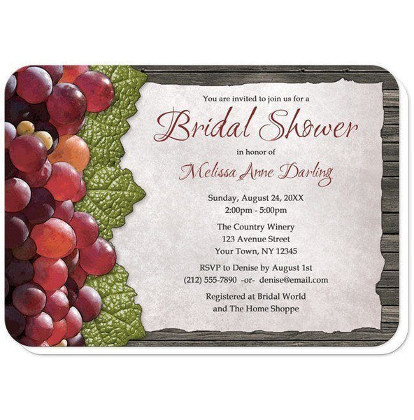 Rustic Winery Grapes and Wood Bridal Shower Invitations - Artistically Invited