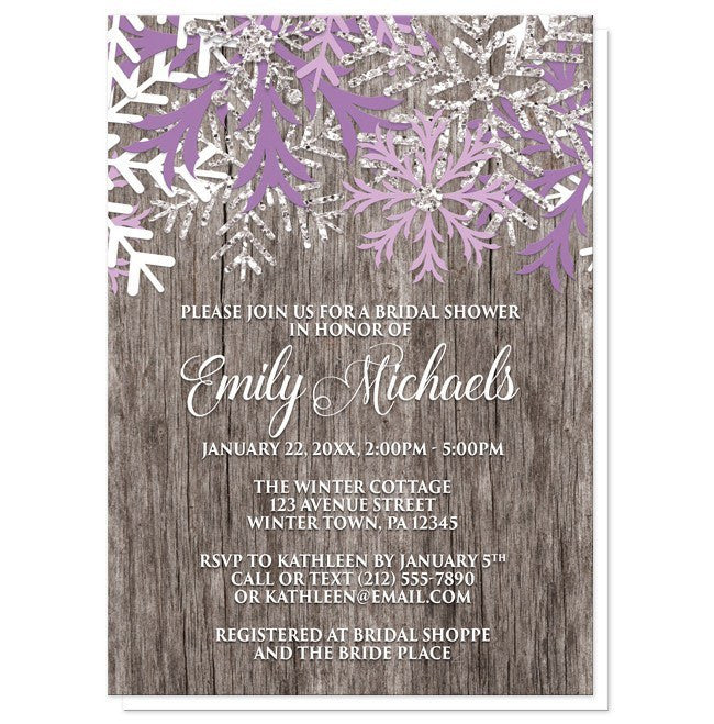 Rustic Winter Wood Purple Snowflake Bridal Shower Invitations At Artistically Invited