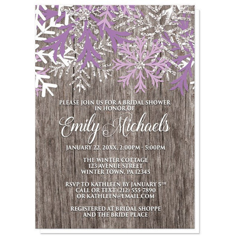 Bridal Shower Invitations - Rustic Winter Wood Purple Snowflake
