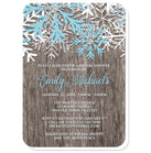 Bridal Shower Invitations - Rustic Winter Wood Snowflake - rounded corners