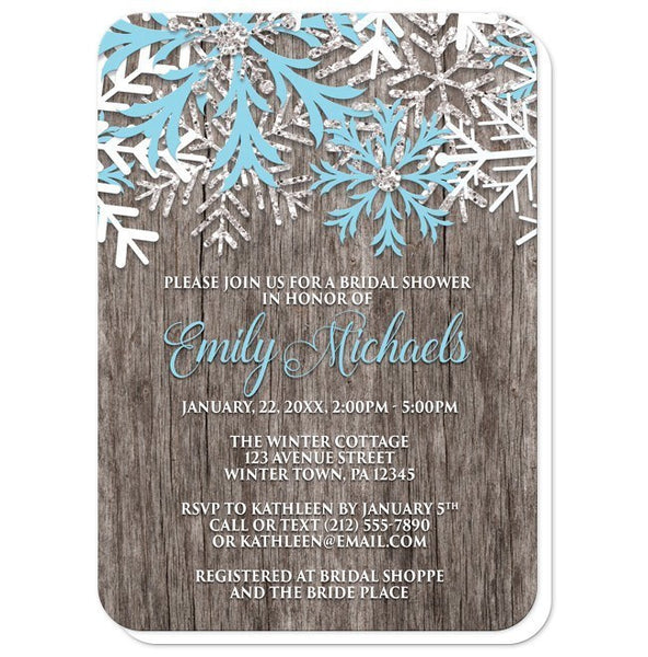 Rustic Winter Wood Snowflake Bridal Shower Invitations - Artistically Invited