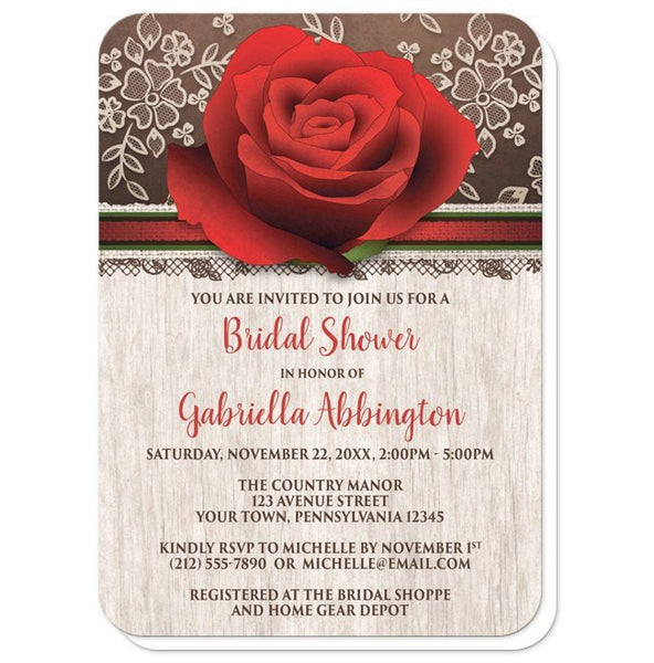 Bridal Shower Invitations - Rustic Wood Lace Red Rose - rounded corners