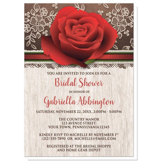 Bridal Shower Invitations - Rustic Wood Lace Red Rose