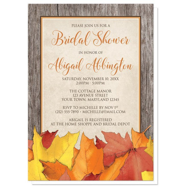 Rustic Wood and Leaves Fall Bridal Shower Invitations - Artistically Invited