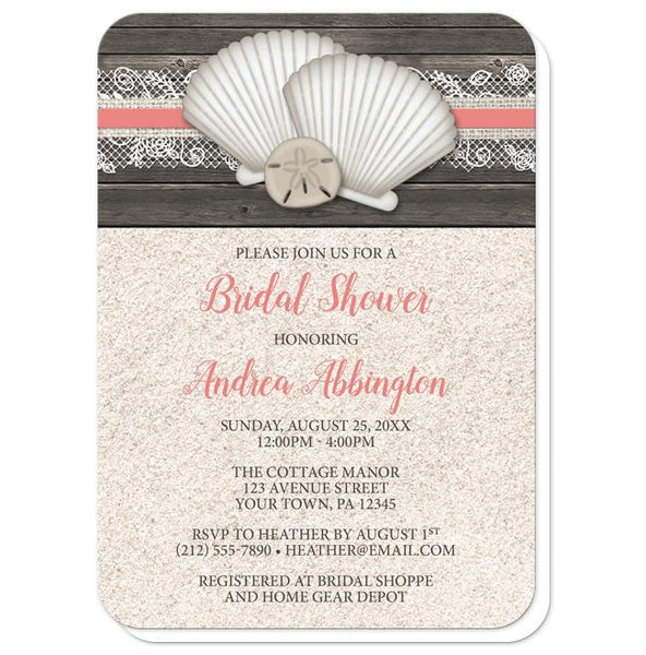 Seashell Lace Wood and Sand Coral Beach Bridal Shower Invitations - rounded corners