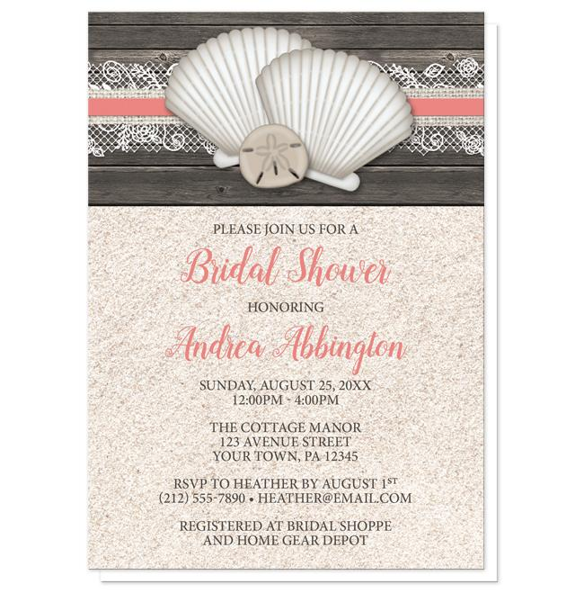 Seashell Lace Wood and Sand Coral Beach Bridal Shower Invitations