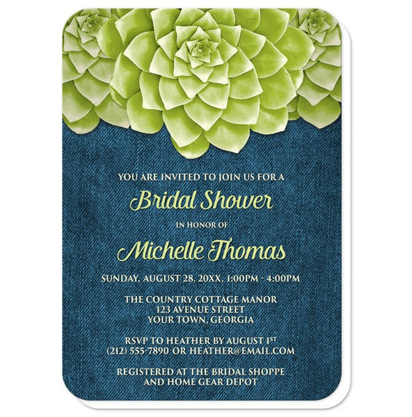 Succulent Green Blue Denim Bridal Shower Invitations - rounded corners