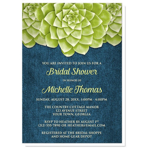 Succulent Green Blue Denim Bridal Shower Invitations