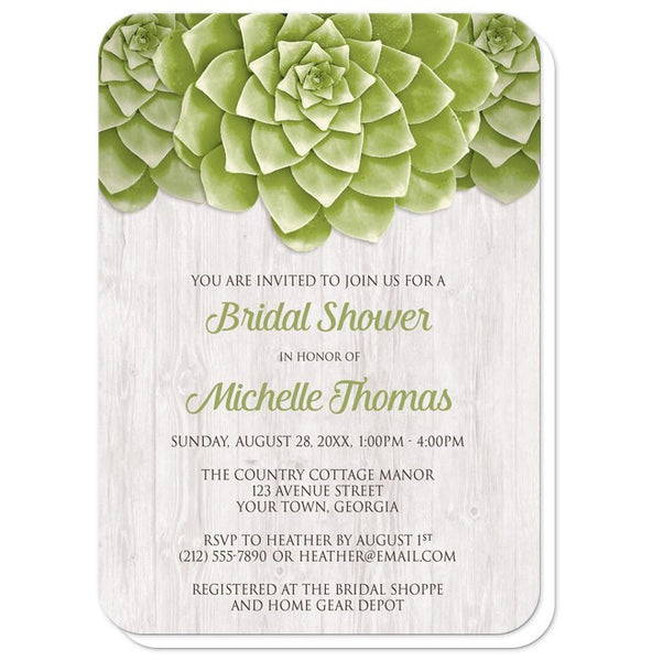 Succulent Whitewashed Wood Bridal Shower Invitations - rounded corners