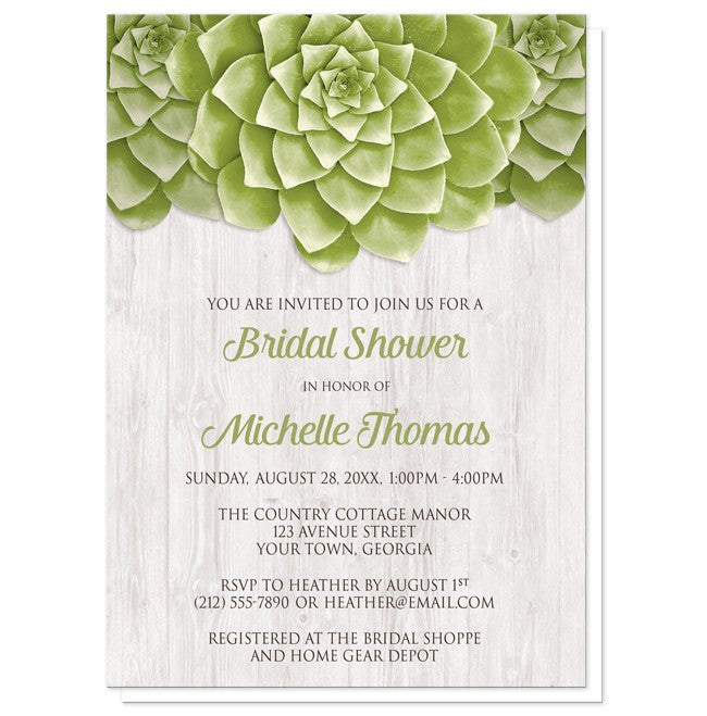 Succulent Whitewashed Wood Bridal Shower Invitations at  Artistically Invited