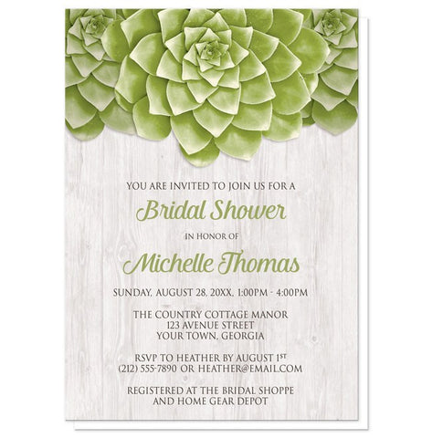 Succulent Whitewashed Wood Bridal Shower Invitations
