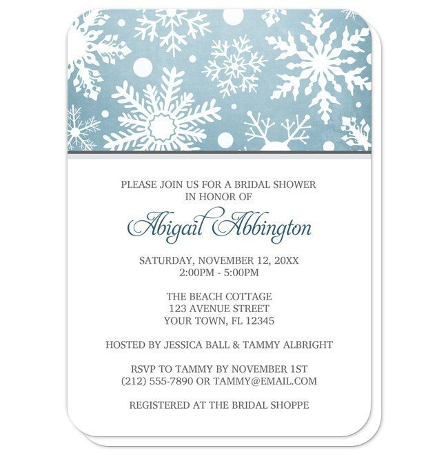Winter Snowflake Blue Gray Bridal Shower Invitations at  Artistically Invited