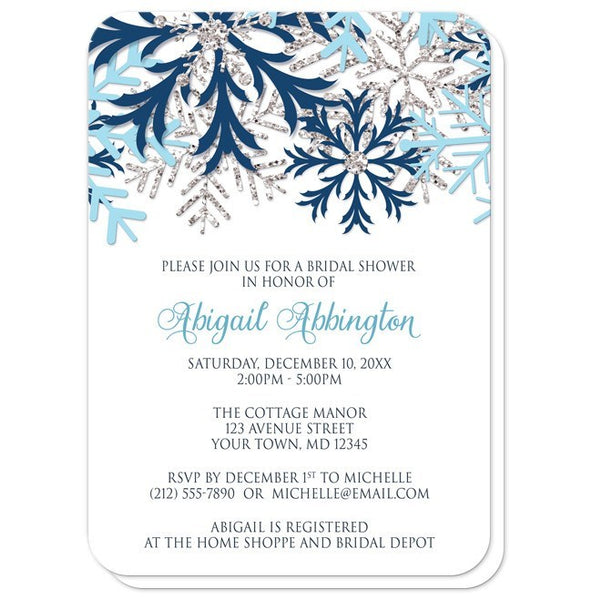 Winter Blue Silver Snowflake Bridal Shower Invitations - rounded corners