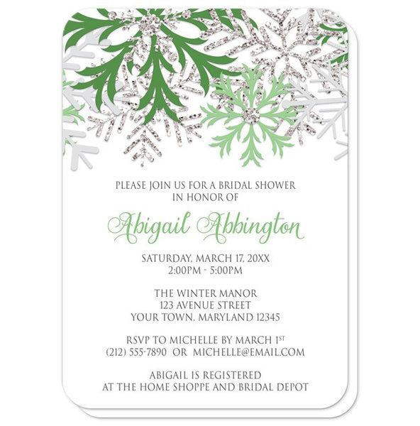 Bridal Shower Invitations - Winter Snowflake Green Silver - rounded corners