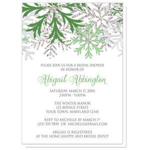 Bridal Shower Invitations - Winter Snowflake Green Silver