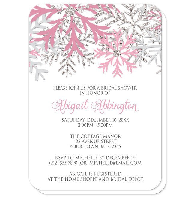 Winter Snowflake Pink Silver Bridal Shower Invitations at  Artistically Invited