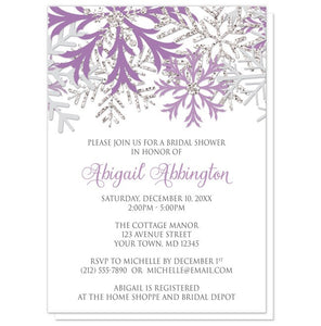 Winter Snowflake Purple Silver Bridal Shower Invitations - Artistically Invited