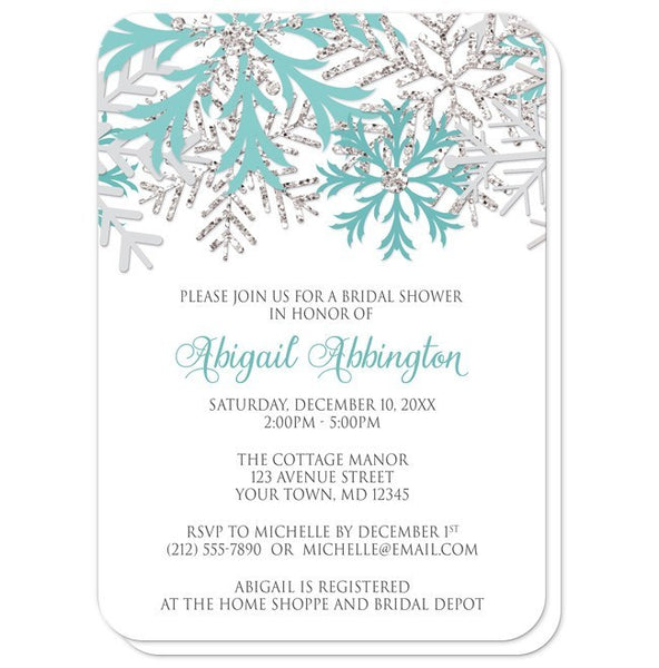 Winter Teal Silver Snowflake Bridal Shower Invitations - Artistically Invited