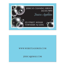 Bubbles Cleaning Service Blue Business Cards