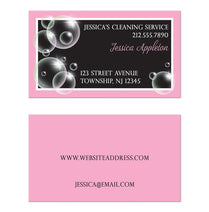Bubbles Cleaning Service Pink Business Cards