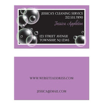 Bubbles Cleaning Service Purple Business Cards