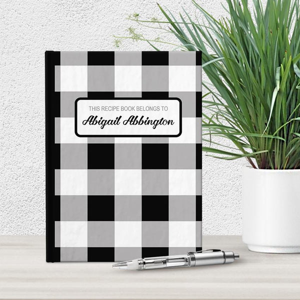 Personalized Black and White Buffalo Plaid Recipe Book at Artistically Invited