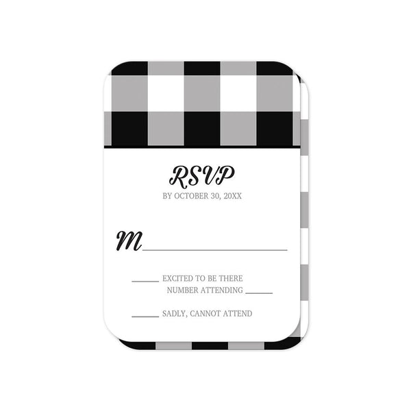 Black and White Buffalo Plaid Vow Renewal RSVP cards with rounded corners at Artistically Invited