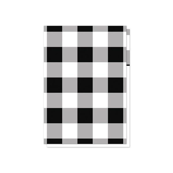 Black and White Buffalo Plaid Vow Renewal RSVP cards (back side) at Artistically Invited