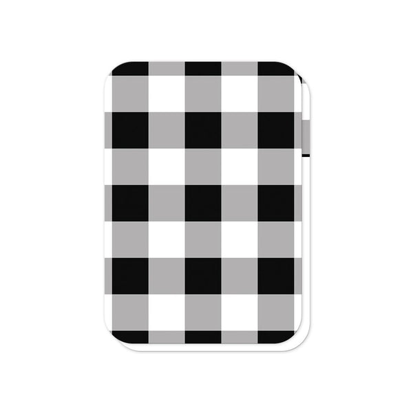 Black and White Buffalo Plaid Vow Renewal RSVP cards (back side with rounded corners) at Artistically Invited