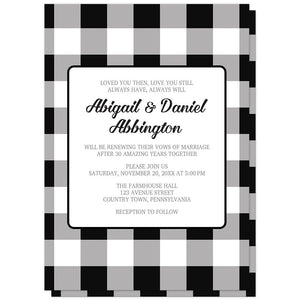 Black and White Buffalo Plaid Vow Renewal Invitations at Artistically Invited