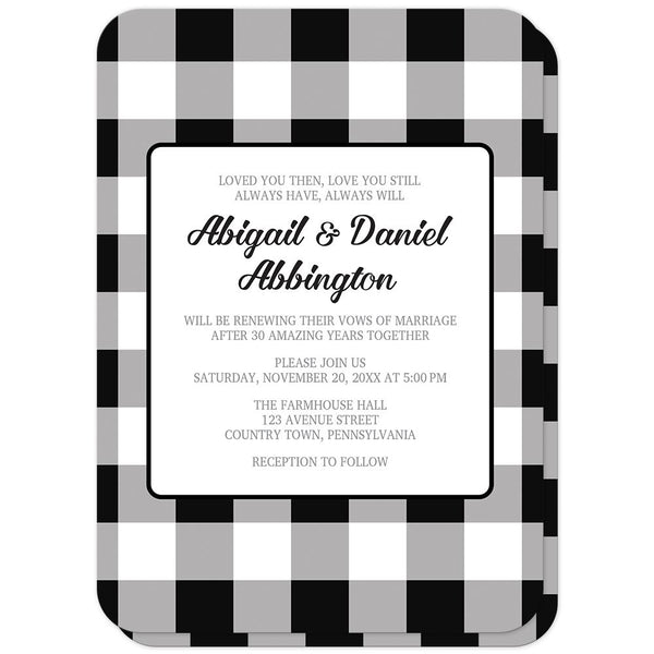 Black and White Buffalo Plaid Vow Renewal Invitations with rounded corners at Artistically Invited