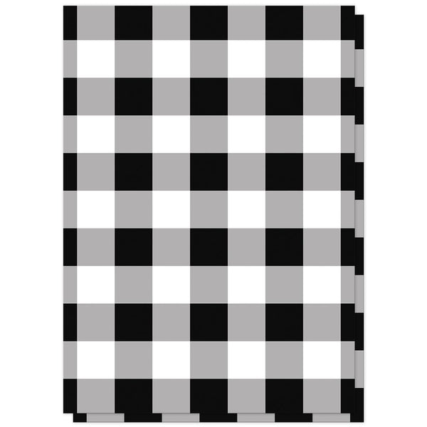 Black and White Buffalo Plaid Vow Renewal Invitations (back side) at Artistically Invited