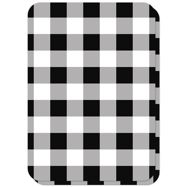 Black and White Buffalo Plaid Vow Renewal Invitations (back side with rounded corners) at Artistically Invited