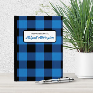 Personalized Blue and Black Buffalo Plaid Journal at Artistically Invited
