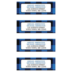 Blue and Black Buffalo Plaid Address Labels at Artistically Invited
