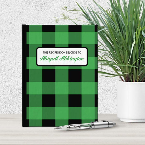 Personalized Green and Black Buffalo Plaid Recipe Book at Artistically Invited