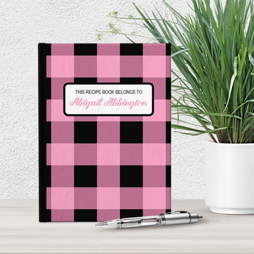 Personalized Light Pink and Black Buffalo Plaid Recipe Book at Artistically Invited