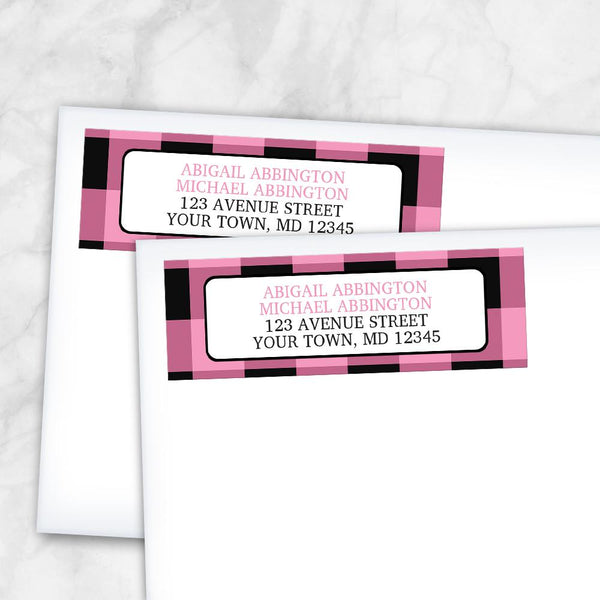 Light Pink and Black Buffalo Plaid Address Labels at Artistically Invited