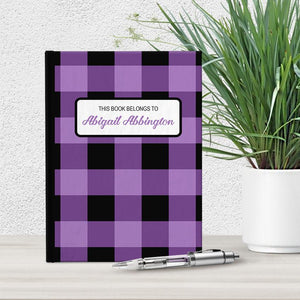 Personalized Purple and Black Buffalo Plaid Journal at Artistically Invited