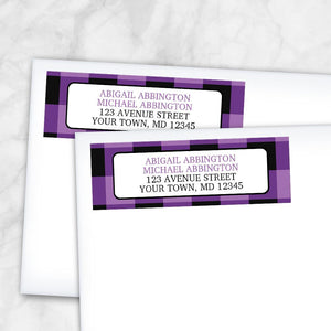 Purple and Black Buffalo Plaid Address Labels at Artistically Invited