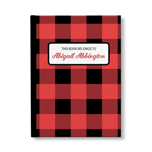 Personalized Red and Black Buffalo Plaid Journal at Artistically Invited