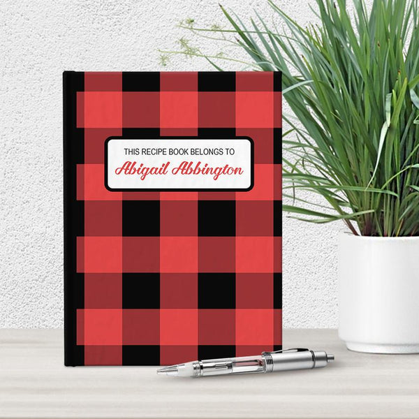 Personalized Red and Black Buffalo Plaid Recipe Book at Artistically Invited